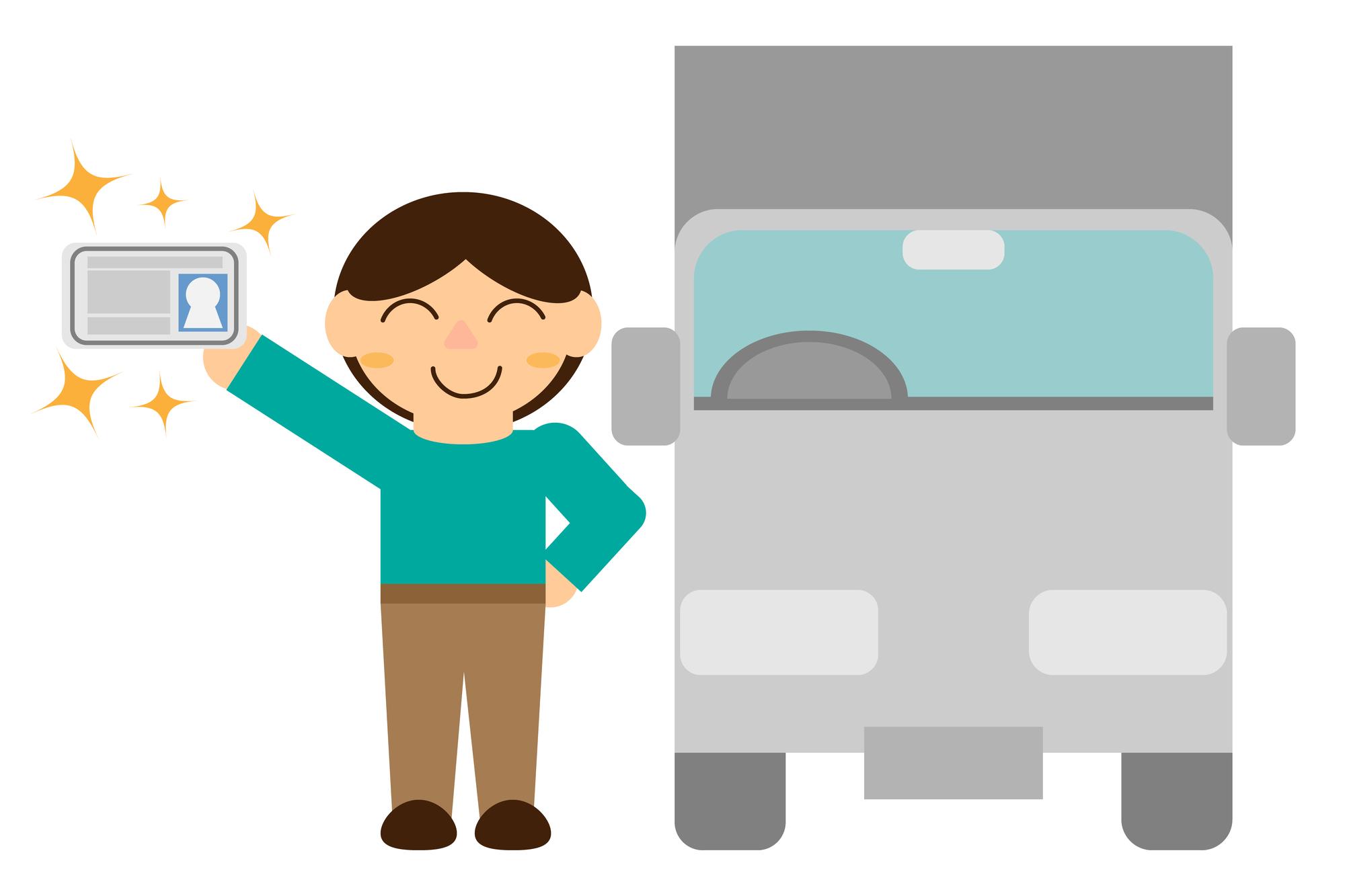 トラック免許を取得した人の絵